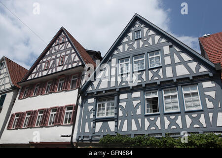 Traditional half-timbered houses in Marbach am Neckar, Baden-Wurttemberg, Germany. - Stock Photo