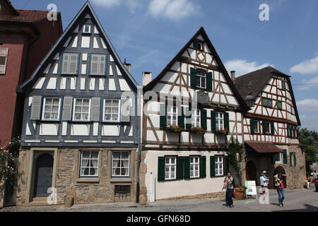 Traditional half-timbered house where Friedrich Schiller was born in 1759 in Marbach am Neckar, Baden-Wurttemberg, - Stock Photo
