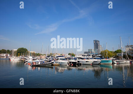 Yachts and sailboats in marina on Baltic Sea in city of Gdynia in Poland, Europe - Stock Photo