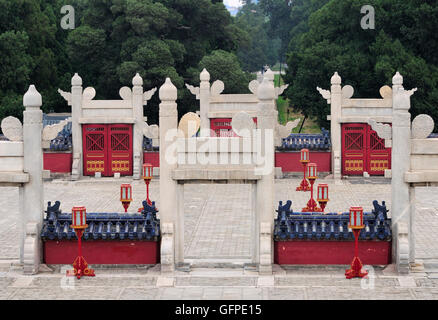 The many gates that make up lingxing gates area within Tiantan Park in the Temple of heaven scenic area in Beijing China.