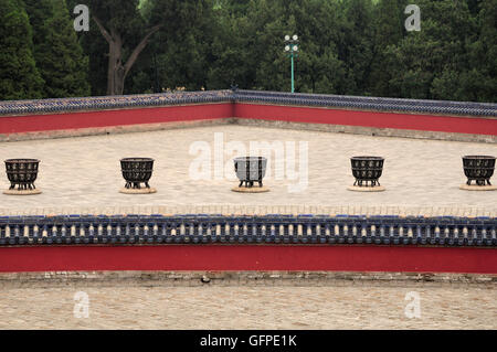 Fire pits and walls surrounding the Lingxing Gates located in Tiantan Park or temple of heaven scenic area in Beijing - Stock Photo