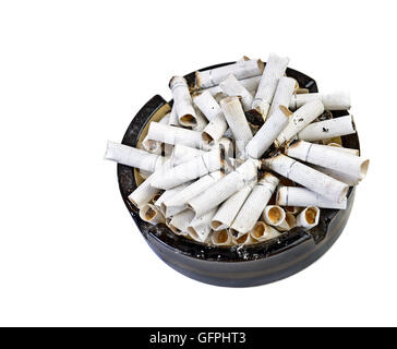 Very many butts in ashtray isolated on white. Top view - Stock Photo
