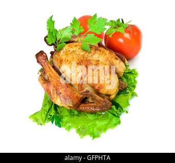 Grilled chicken with herbs and vegetables isolated on white. Top view - Stock Photo