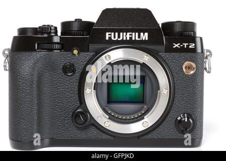 FUJIFILM X-T2, 24 megapixels, 4K video mirrorless camera from the front with details and visible APS-C sensor - Stock Photo