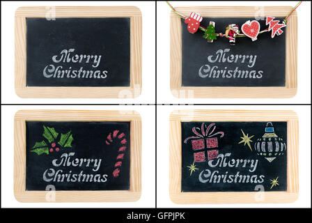Photo collage of Merry Christmas greeting on vintage chalkboard frames isolated on white - Stock Photo