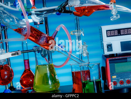 chemical glass setup in laboratory - Stock Photo