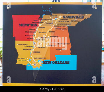Map of the Deep South States in Memphis Tennessee USA