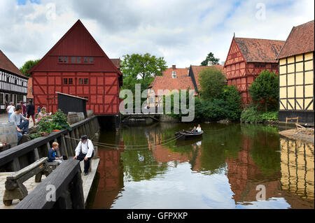 Old boat ferry in The Old Town (Den Gamle By), Aarhus, Denmark - Stock Photo