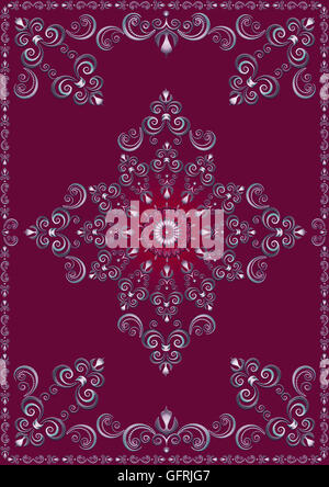 Frame with violet luxury ornament on magenta background - Stock Photo