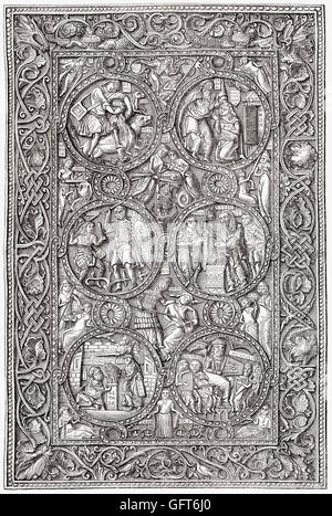 Adorned ivory cover of a book of hours, 11th century - Stock Photo