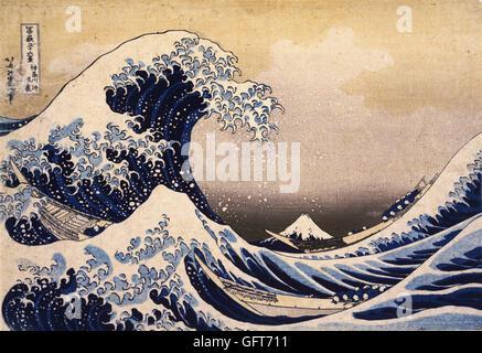 Katsushika Hokusai - Thirty-Six Views of Mount Fuji- The Great Wave Off the Coast of Kanagawa - Stock Photo