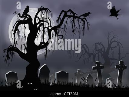 Eerie Halloween scene of a misty graveyard, creepy tree and ominous crows. - Stock Photo