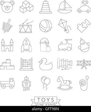 Set of 25 children's toys icons, thin line design - Stock Photo