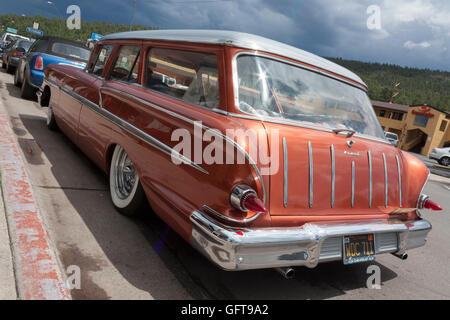 rear view of vintage station wagon Williams arizona - Stock Photo