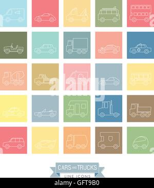 Cars, vans and other motor vehicles line icons in pastel colored squares - Stock Photo