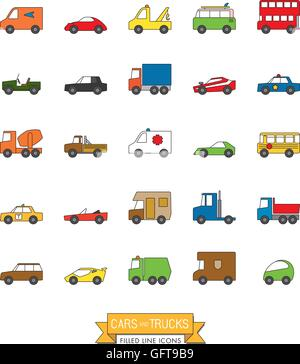 Cars, vans and other motor vehicles color filled line icon set - Stock Photo