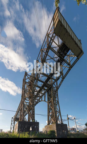 The Warrington or Bank Quay Transporter bridge was opened across the river Mersey in 1916 at a cost of £34,000. - Stock Photo