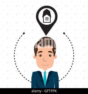 man house pin location - Stock Photo