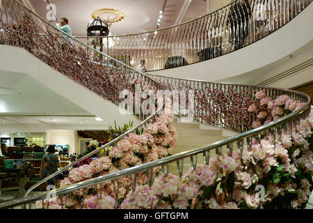 Fortnum and Mason's famous staircase - Stock Photo