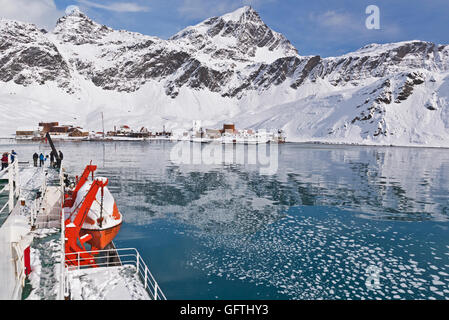View of the former whalers settlement at Grytviken, South Georgia taken from MV Ushuaia while at anchor in King - Stock Photo