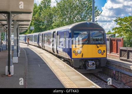 A four car Desiro 360 EMU service at Walton-on-the-Naze about to depart for Thorpe-Le-Soken. - Stock Photo