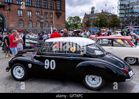 A DKW 3=6 Sonderklasse Limousine Special parked on City Hall Square, Copenhagen, Denmark - Stock Photo