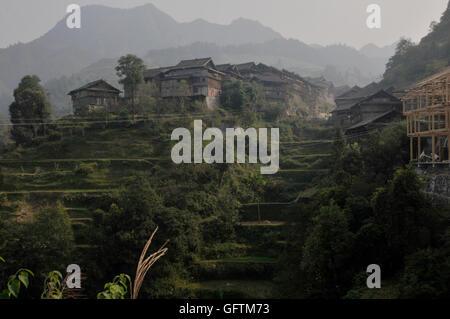 Jiting, on a Hill Near Zhaoxing, in Guizhou, China - Stock Photo