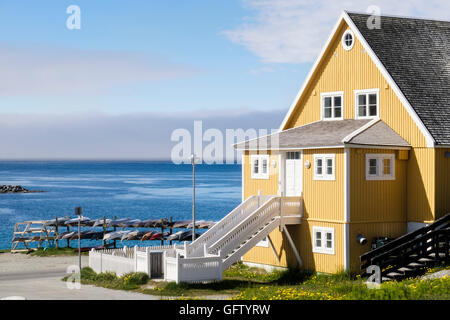 The Old Hospital (Det Gamle Sygehus) overlooking the Colonial Harbour (Kolonihavnen). Nuuk (Godthab), Sermersooq, - Stock Photo