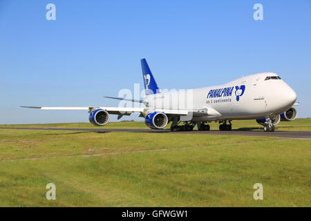 Luxembourg/Luxembourg August 9, 2015: Boeing 748 from Panalpina taxing at Luxembourg Airport - Stock Photo