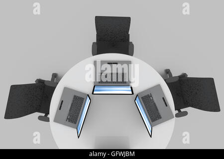 3D rendering of top view of round meeting table - Stock Photo