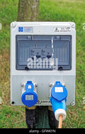 electrical supply box at a campsite - Stock Photo