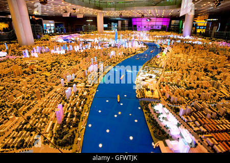 Scale model of Shanghai at the Shanghai Urban Planning Exhibition Center, China - Stock Photo