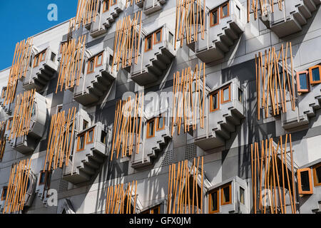 Architectural detail of windows on facade on Scottish Parliament building in Edinburgh Scotland , United Kingdom - Stock Photo