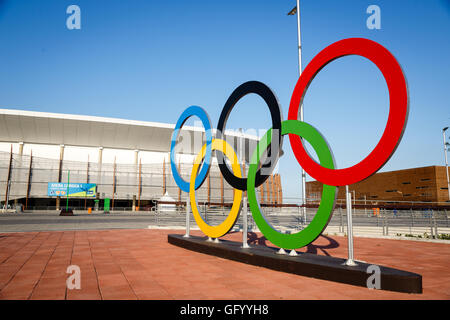 Rio de Janeiro, Brazil. August 1, 2016. Olympic rings in  Barra Olympic Park. © Petr Toman/World Sports Images - Stock Photo