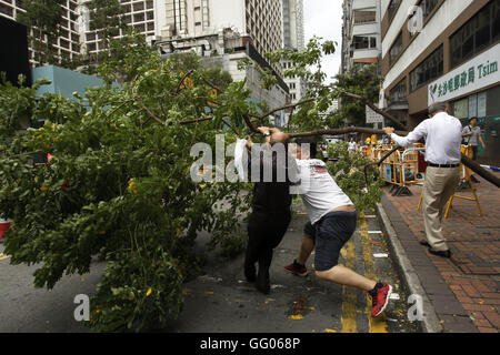 Hong Kong, China. 2nd Aug, 2016. People work to remove a fallen tree that is blocking the road after Typhoon Nida - Stock Photo