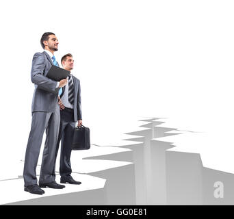 Business men overcome obstacles - Stock Photo