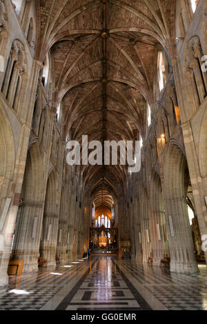 The Nave / interior / inside Worcester Cathedral, Worcestershire. UK, seen from the West End / West door, looking - Stock Photo