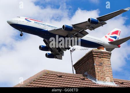 British Airways Boeing 747 ( G-BYGF Boeing 747-436) plane making final approach / landing at London Heathrow airport.