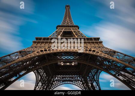 The Eiffel Tower (La tour Eiffel) on the Champ de Mars in Paris, France - Stock Photo