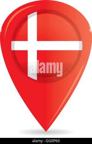 Isolated pin with the danish flag on a white background - Stock Photo