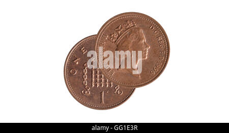 face and back of a coin of one penny coin on white background - Stock Photo
