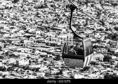 cable car in the city of Salta, Argentina. Black and white - Stock Photo