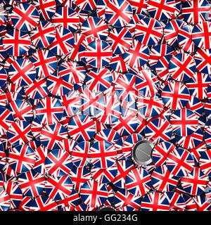 UK badges background / 3D illustration of shiny metallic badges with British flag - Stock Photo