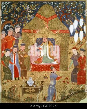Rashid Al-Din (1247-1318) Gengis Khan se proclame empereur  Miniature du Jami al-tawarikh (Histoire universelle) - Stock Photo