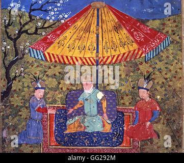 Rashid Al-Din (1247-1318) Gengis Khan (1167-1227) entre deux dignitaires mongols Miniature du Jami al-tawarikh (Histoire - Stock Photo