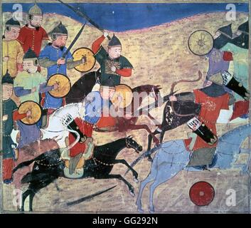 Rashid Al-Din (1247-1318) Guerriers mongols Miniature du Jami al-tawarikh (Histoire universelle). 14e siècle Paris, - Stock Photo