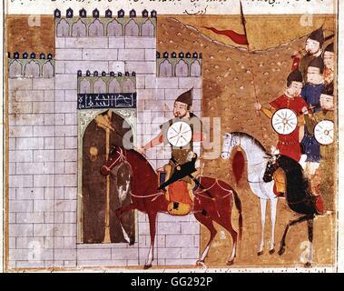 Rashid Al-Din (1247-1318) Le général Moukha et les troupes mongoles assiègent la ville de Tchang-Dou, dynastie Qin - Stock Photo