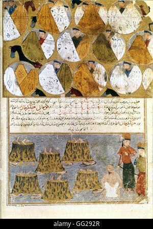Rashid Al-Din (1247-1318) Tentes mongoles et prisonniers de Gengis Khan Miniature du Jami al-tawarikh (Histoire - Stock Photo