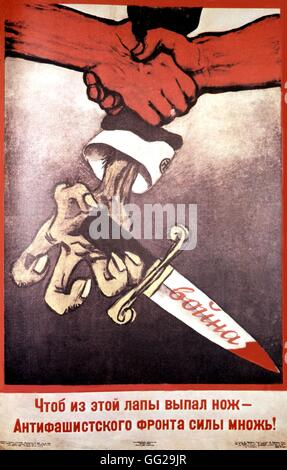 Propaganda poster by MIkhail Cheremnykh: 'To let the knive fall, join the anti-fascist ranks' 61 x 94 cm 1938 U.S.S.R. - Stock Photo