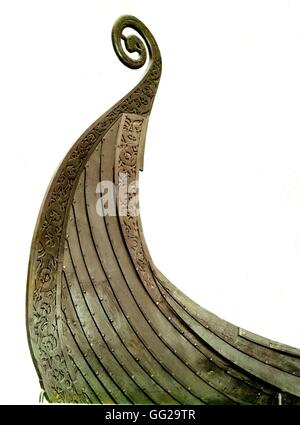 Detail of the Oseberg viking ship End of 8th century / Early 10th century Viking art Oslo, Bygdy Museum - Stock Photo